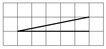 На клетчатой бумаге с размером клетки 1×1 изображён острый угол.