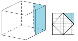 Объём куба равен 24. Найдите объём треугольной призмы, отсекаемой от куба плоскостью