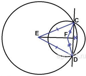 Окружности с центрами в точках Е и F пересекаются в точках С и D, причём точки Е и F