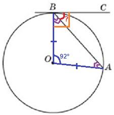 Решение №1724 Хорда AB стягивает дугу окружности в 92°.