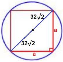 Радиус окружности, описанной около квадрата, равен 32√2.