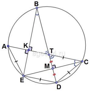 а) Докажите, что прямая BD пересекает отрезок CE в середине DT.