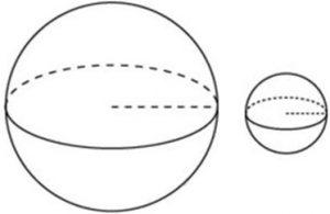 Даны два шара. Диаметр первого шара в 8 раз больше диаметра второго.