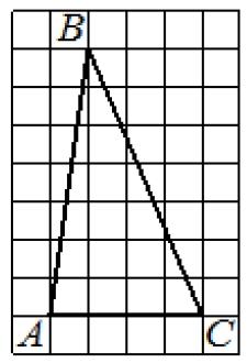 На клетчатой бумаге с размером клетки 1×1 изображён треугольник ABC.