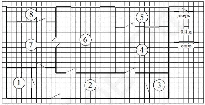 На рисунке изображён план двухкомнатной квартиры в многоэтажном жилом доме.