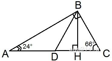 Острые углы прямоугольного треугольника равны 24° и 66°.