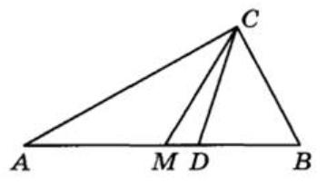 Острый угол В прямоугольного треугольника АВС равен 50°.