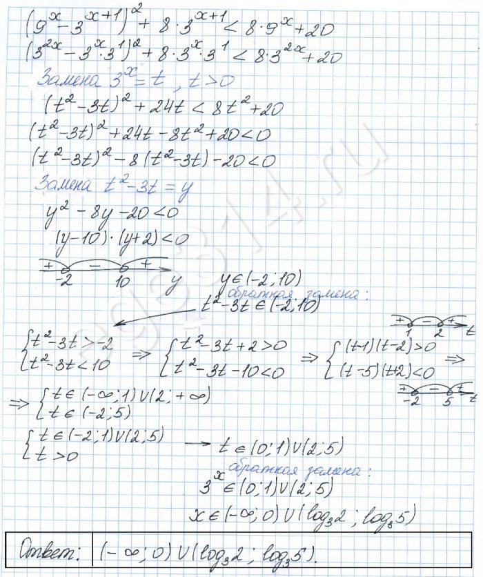Решите неравенство (9х – 3х+1)2 + 8·3х+1 8·9x + 20