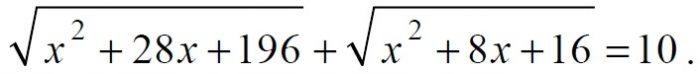 Решите уравнение √(x^2+28x+196)+√(x^2+8x+16)=10