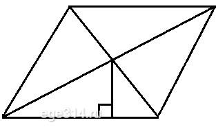 Сторона ромба равна 5, а расстояние от точки пересечения диагоналей ромба до неё равно 2.