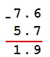 Решение №1665 Найдите значение выражения 5,7 – 7,6.