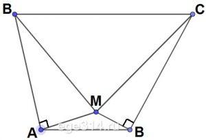 В трапеции ABCD основание AD в два раза меньше основания ВС. Внутри трапеции взяли точку М так, что углы ВАМ и CDM прямые.