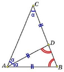 В треугольнике 𝐴𝐵𝐶 проведена биссектриса 𝐴𝐷 и 𝐴𝐵 = 𝐴𝐷 = 𝐶𝐷. Найдите меньший угол треугольника 𝐴𝐵𝐶.