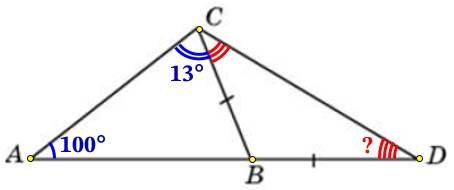 В треугольнике 𝐴𝐵𝐶 угол 𝐴 равен 100°, угол 𝐶 равен 13°. На продолжении стороны 𝐴𝐵 за точку 𝐵 отложен отрезок 𝐵𝐷, равный стороне 𝐵𝐶.