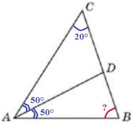 В треугольнике 𝐴𝐵𝐶 угол 𝐶 равен 20°, 𝐴𝐷 — биссектриса, угол 𝐶𝐴𝐷 равен 50°. Найдите угол 𝐵. Ответ дайте в градусах.