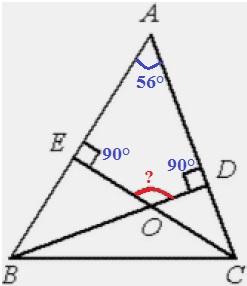 Решение №1951 В треугольнике 𝐴𝐵𝐶 угол 𝐴 равен 56°, углы 𝐵 и 𝐶− острые, высоты 𝐵𝐷 и 𝐶𝐸 пересекаются в точке 𝑂.
