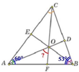 В треугольнике 𝐴𝐵𝐶 угол 𝐴 равен 60°, угол 𝐵 равен 53°. 𝐴𝐷, 𝐵𝐸 и 𝐶𝐹− биссектрисы, пересекающиеся в точке 𝑂.