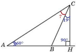 Решение №1950 В треугольнике 𝐴𝐵𝐶 угол 𝐴 равен 60°, 𝐶𝐻 — высота, угол 𝐵𝐶𝐻 равен 19°.