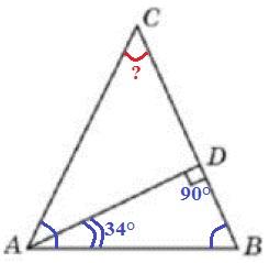 В треугольнике 𝐴𝐵𝐶 𝐴𝐶 = 𝐵𝐶, 𝐴𝐷 − высота, угол 𝐵𝐴𝐷 равен 34°.