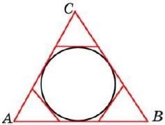 К окружности, вписанной в треугольник 𝐴𝐵𝐶, проведены три касательные.