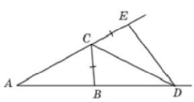 В треугольнике 𝐴𝐵𝐶 угол 𝐴 равен 17°, угол 𝐵 равен 46°, 𝐶𝐷 − биссектриса внешнего угла при вершине 𝐶, причем точка 𝐷 лежит на прямой 𝐴𝐵.