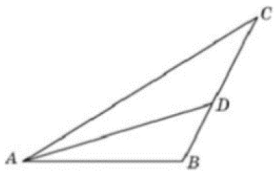 Решение №1953 В треугольнике 𝐴𝐵𝐶 угол 𝐶 равен 50°, 𝐴𝐷 — биссектриса, угол 𝐵𝐴𝐷 равен 63°.