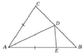 В треугольнике 𝐴𝐵𝐶 угол 𝐵 равен 50°, угол 𝐶 равен 77°, 𝐴𝐷 − биссектриса, 𝐸 − такая точка на 𝐴𝐵, что 𝐴𝐸 = 𝐴𝐶.
