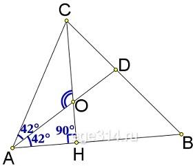 В треугольнике 𝐴𝐵𝐶 𝐶𝐻 – высота, 𝐴𝐷 – биссектриса, 𝑂 – точка пересечения прямых 𝐶𝐻 и 𝐴𝐷, угол 𝐵𝐴𝐷 равен 42°.