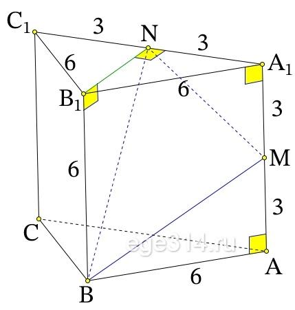Все рёбра правильной треугольной призмы ABCA1B1C1 имеют длину 6. Точки M и N – середины рёбер AA1 и A1C1 соответственно. а) Докажите, что прямые BM и MN перпендикулярны.