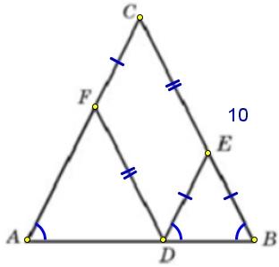 Боковая сторона равнобедренного треугольника равна 10. Из точки, взятой на основании этого треугольника, проведены две прямые, параллельные боковым сторонам.