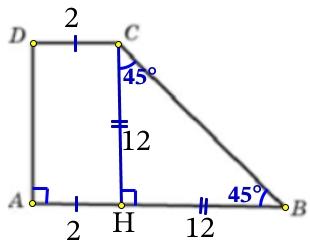 Найдите площадь прямоугольной трапеции, основания которой равны 2 и 14, большая боковая сторона составляет с основанием угол 45°.