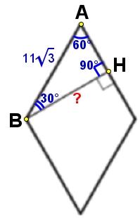 Найдите высоту ромба, сторона которого равна 11√3, а острый угол равен 60°.