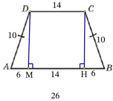 Основания равнобедренной трапеции равны 14 и 26, а её боковые стороны равны 10.