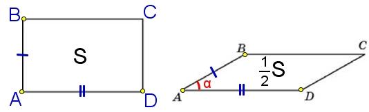 Параллелограмм и прямоугольник имеют одинаковые стороны. Найдите острый угол параллелограмма, если его площадь равна половине площади прямоугольника.