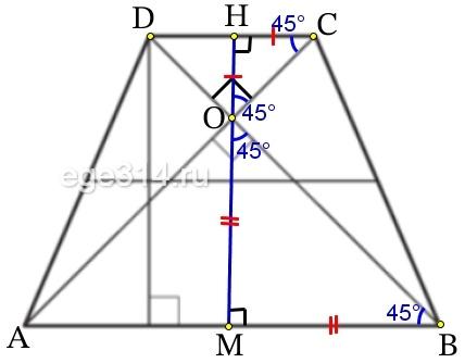В равнобедренной трапеции диагонали перпендикулярны. Высота трапеции равна 46.