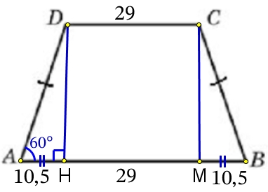 В равнобедренной трапеции основания равны 29 и 50, острый угол равен 60°. Найдите её периметр.