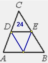 Решение №1980 В треугольнике 𝐴𝐵𝐶 𝐷𝐸− средняя линия. Площадь треугольника 𝐶𝐷𝐸 равна 24.