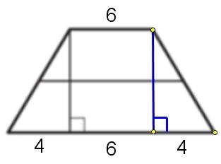 Высота, опущенная из вершины тупого угла на большее основание равнобедренной трапеции, делит его на отрезки равные 10 и 4. Найдите среднюю линию этой трапеции.