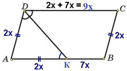 Решение №1998 Биссектриса тупого угла параллелограмма делит противоположную сторону в отношении 2:7, считая от вершины острого угла.