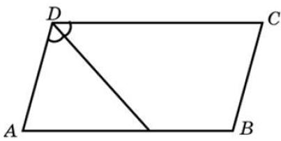 Биссектриса тупого угла параллелограмма делит противоположную сторону в отношении 27, считая от вершины острого угла.