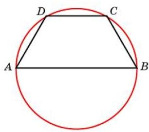 Боковая сторона равнобедренной трапеции равна её меньшему основанию, угол при основании равен 60°, большее основание равно 38. Найдите радиус описанной окружности этой трапеции.