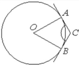 Через концы 𝐴 и 𝐵 дуги окружности с центром 𝑂 проведены касательные 𝐴𝐶 и 𝐵𝐶. Меньшая дуга 𝐴𝐵 равна 58°. Найдите угол 𝐴𝐶𝐵. Ответ дайте в градусах.