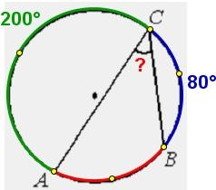 На окружности отмечены точки 𝐴, 𝐵 и 𝐶. Дуга окружности 𝐴𝐶, не содержащая точку 𝐵, составляет 200°.