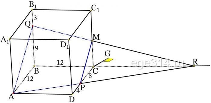 На рёбрах 𝐶𝐷 и 𝐵𝐵1 куба 𝐴𝐵𝐶𝐷𝐴1𝐵1𝐶1𝐷1 с ребром 12 отмечены точки 𝑃 и 𝑄 соответственно, причём 𝐷𝑃 = 4, а 𝐵1𝑄 = 3.