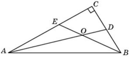 Найдите острый угол между биссектрисами острых углов прямоугольного треугольника. Ответ дайте в градусах.