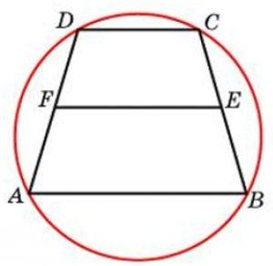 Около трапеции описана окружность. Периметр трапеции равен 52, средняя линия равна 21. Найдите боковую сторону трапеции.