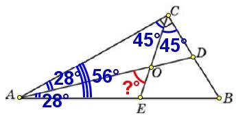 Острый угол прямоугольного треугольника равен 56°.