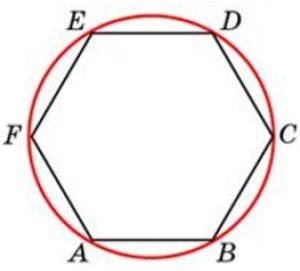 Периметр правильного шестиугольника равен 108. Найдите диаметр описанной окружности.