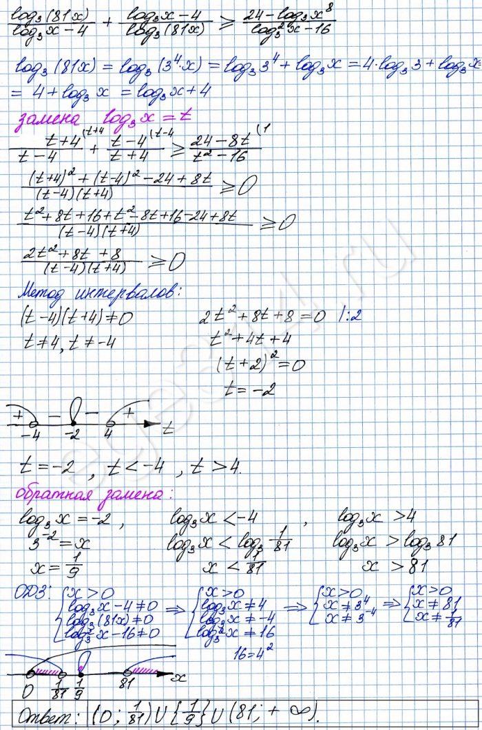 Решите неравенство log3 (81x)(log3x - 4)+(log3 x-4)log3 (81x)=(24-log3x^8)(log3^2 x -16)