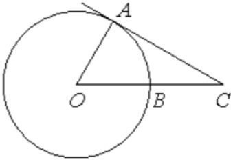 Угол 𝐴𝐶𝑂 равен 27°, где 𝑂− центр окружности. Его сторона 𝐶𝐴 касается окружности. Сторона 𝐶𝑂 пересекает окружность в точке 𝐵 (см. рис.). Найдите величину меньшей дуги 𝐴𝐵 окружности. Ответ дайте в градусах.